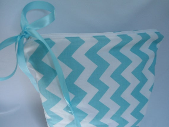 "Large Wet Bag, Designer Blue Chevron Fabric, 12"" x 16"", Babies and Toddlers,"