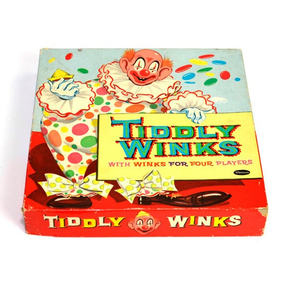 "Tiddly Winks Old Fashioned Game - ""With Winks for Four Players"" - Complete Set in Box - Vintage Toy Collectible"