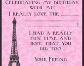 DIY Printable Eiffel Tower Thank You Card - Black and White or Pink and Black - Digital Design