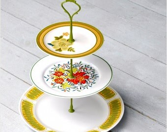 Tiki:  Cake Stand, 3 Tier Cake Stand, Cupcake Stand, Pastry Stand, Retro Vintage China Stand