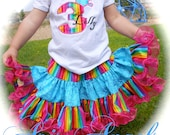Ari's Angels Rainbow girls Birthday outfit Monogrammed Personalized Shirt & Full Twirling Skirt