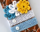San Diego Chargers Crocheted Headband and Flower Set // Powder Blue // Yellow // White