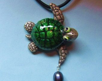"Whimsical Silver Turtle Necklace ""Another Excellent Day"" With Pearl Drop"