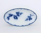 RESERVED FOR SANDIE - Beautiful antique flow blue and white  serving dish - Societe Ceramique Maestricht - Etruria- Made in Holland