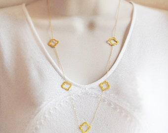 Clover Quatrefoil long station necklace - clover necklace - layered necklace - clover charm necklace - long necklace for her, gift for women