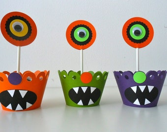 MONSTER Cupcake wrapper and topper