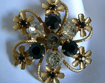 Black, Clear and Grey Prong Set Rhinestones Gold Tone Brooch pin - Unsigned - Vintage