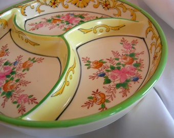 Hand Painted Japanese 3 Section Divided Dish - Hallmark MORIYAMA MORI-MACHI - Vintage 1926 - 1929