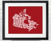 Canada Word Map - A typographic word map of cities of Canada - INSTANT DOWNLOAD - 8x10