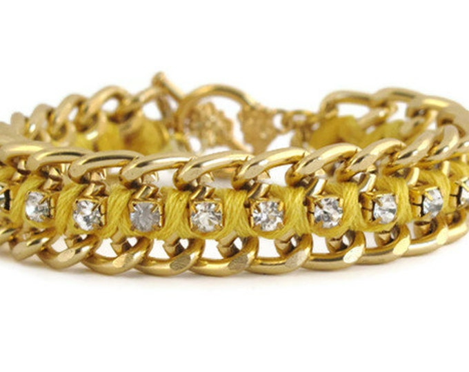 Yellow Woven Chain and Rhinestone Bracelet