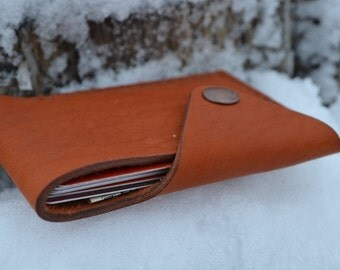 Leather Wallet-Men Wallet-Leather Card Holder Leather-Handmade Red Brown