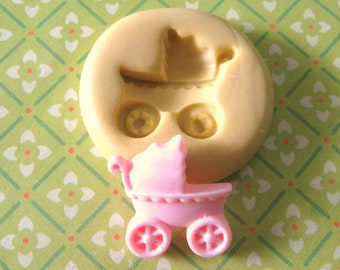 Baby Carriage Flexible Silicone Polymer Clay Soap Chocolate Fondant Push Mold - Food Grade 20x20mm