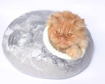 Cat bed, cave, pets house grey marble effect