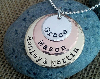 Mom Necklace, Mixed Metal Necklace, Personalized Mom Necklace, Family Pendant, Stamped Evermore