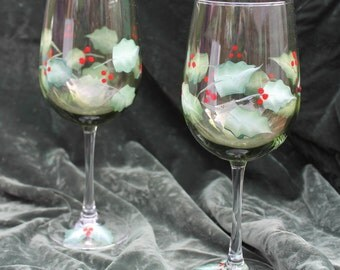 Hand Painted Christmas Wine Glasses - Holly on Olive Green Glass