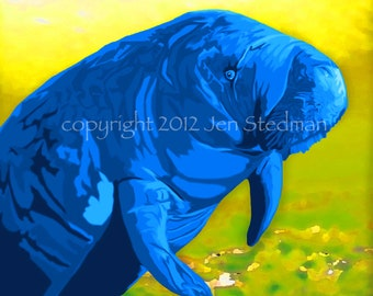hand painted Manatee art print, lime green, bright yellow and blue colors