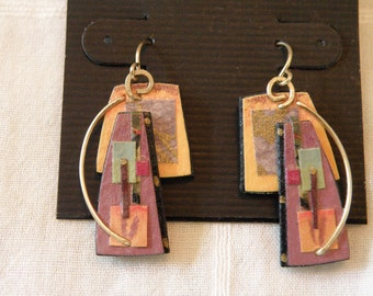 Abstract 14K Gold Artisan Earrings - marked 14K and signed