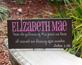 Large Personalized Child Name Sign with Verse and Scripture. Ideal for a Nursery, Baby Shower, Birthday or Christmas Gift
