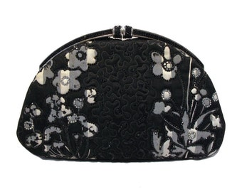 Judith Leiber Vintage Silk and Swarovski Floral Evening Clutch