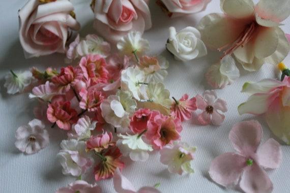 Assortment of Pink & Cream Flowers, Scrapbooking, Headpieces, Wedding, Craft
