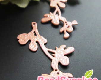 CH-ME-01339 - Nickel Free, Dusty Pink enameled,  Textured twiggy branch, 4 pcs,