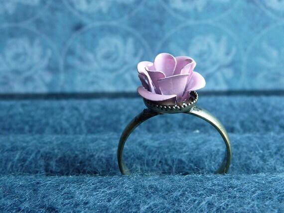 Pink Metal Flower Adjustable Ring by vintagerust