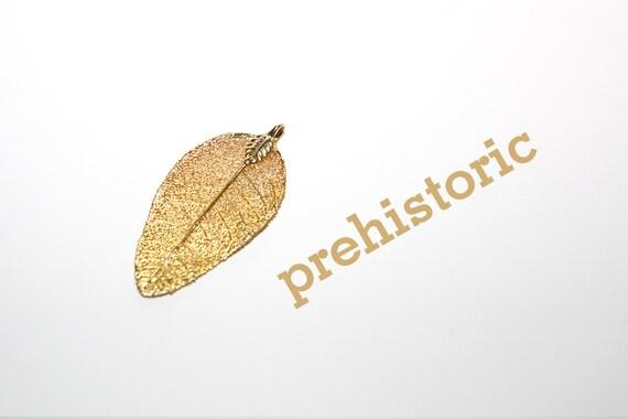 vintage gold leafed fossil leaf pendant