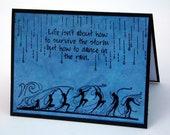 Rain Dance Note card, Black and Blue, Stamped Greeting Card, dance in the rain blank card, notecard, Dancers, friendship card