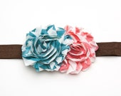 PInk Turquoise Double Rosette Shabby Chic Headband