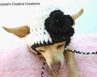Flower Dog Hat - Pet Hat - Cat Hat - Photo Prop - Hand Crochet - Made To Order