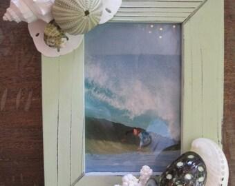 Beach Decor Seashell Frame - Green Shell Frame - Starfish Frame - Coastal Home Decor - Seashells