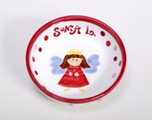 Custom Ceramic Baby Bowl / Personalized Polish Pottery For Girls / Polka Dots and Fairy