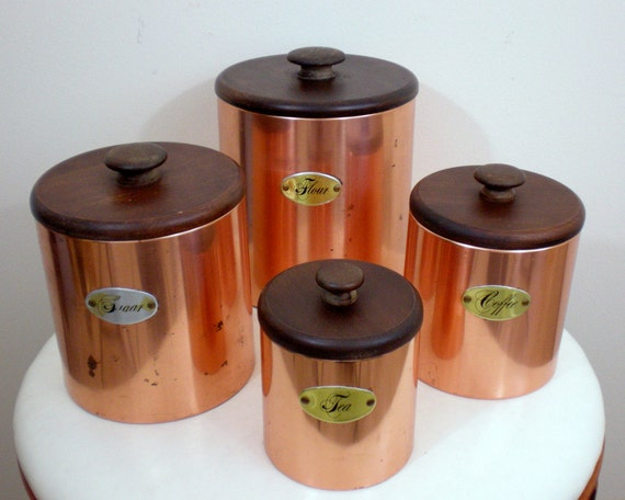 Copper Kitchen Canisters Flour Sugar Coffee Tea By Chimpcetera