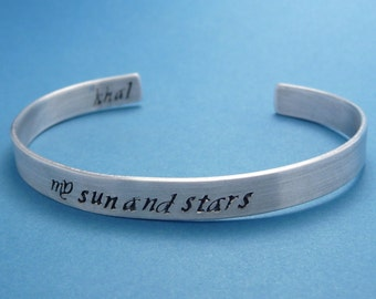 My Sun And Stars - A Hand Stamped Aluminum Bracelet