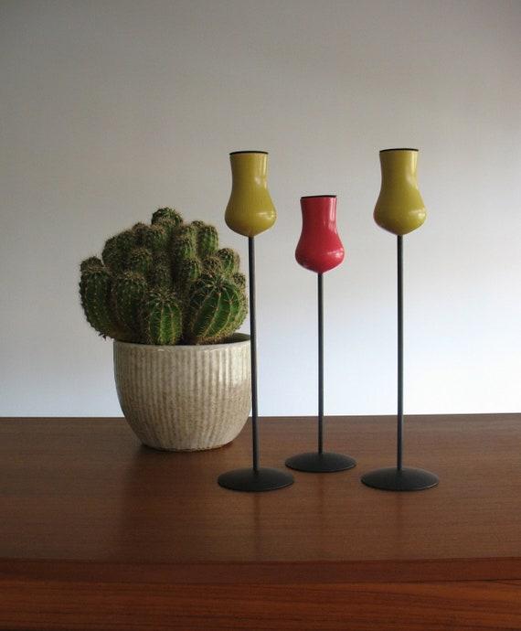 Laurids Lonborg Denmark Mid Century Modern Candlesticks Trio