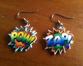 Comic Book Words Shrinky Dink Earrings
