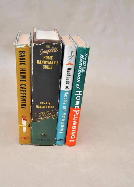 Set of 4 Vintage Home Improvement Books Wise Book Publishing 1950s Carpentry Plumbing