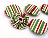Red Green Stripe Yoyos White Christmas Holiday Set of 20 Handmade