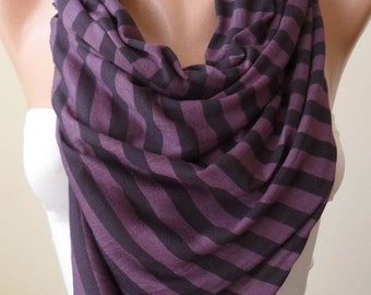 New - Purple Striped Scarf - Combed Cotton -