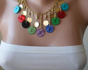 Colorful Button Necklace with Chain - Speacial Design