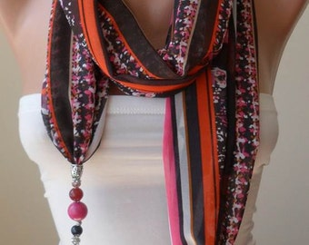 Mother's Day - Scarf Necklace - Jewelry Scarf - Golden Colors - Pink and Orange - Trendy - Fashion