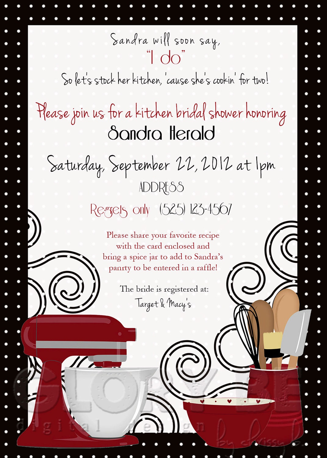 Red Black Kitchen Themed Bridal Shower By Pixelperfectgraphics