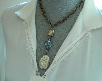 Sterling Locket Angel Face Vintage Watch Case Assemblage Necklace