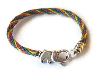 Elephant bracelet - kumihimo braid - his and hers sizes - rainbow colors