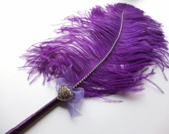Large Ostrich feather  Pen (Purple with heart shape brooch) / Wedding Signing Pen / Guest Book Pen / Wedding Reception Accessories