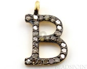 "Genuine Natural Pave Diamond Initial ""B"" Letter Charm or Small Pendant, 24K Gold Vermeil over Sterling Silver, ( DCH/B)"