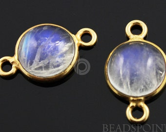 Natural Rainbow Moonstone Faceted Round Connector, Gold Vermeil,   Incredible Blue Fire,10mm,1 Piece, (RNM10)