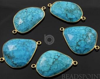Natural Turquoise Bezel Fancy Shape Connector Component, Gold Vermeil,  42x32mm, 1 Piece, (BZC7107)