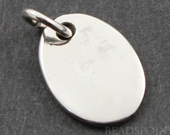 Sterling Silver,Oval Tag Charm/ Pendant with Open Jump Ring,  Rich & luxurious, 1 Piece (SS/CH11/CR7)