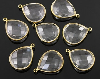 Natural Rock Crystal, Bezel Pear Shape Gemstone Component,Gold Vermeil,, 21x25mm 1 Piece, (BZC3070)